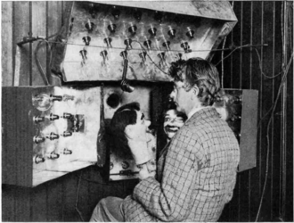"Stooky Bill - Baird in 1925 with his televisor scanner and dummies ""James"" and ""Stooky Bill"" (right). The banks of bright lights were needed to produce a bright enough image at the receiver."