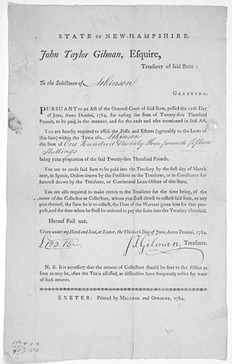 History of New Hampshire - Order by John Taylor Gilman, State Treasurer and later Governor, 1784