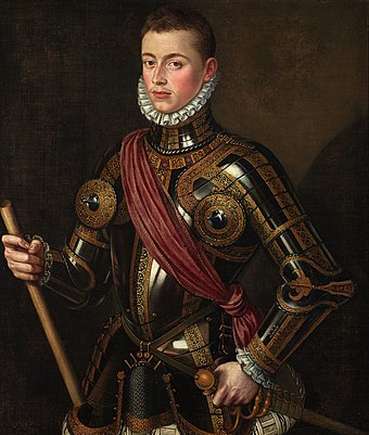John of Austria in armour, by Alonso Sanchez Coello, 1567. John of Austria portrait.jpg