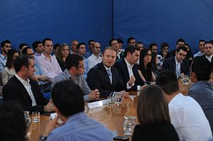 Joseph Muscat - Joseph Muscat at a meeting while explaining political agenda