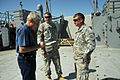 Journalist David C. Henley, left, interviews U.S. Soldiers assigned to the 481st Transportation Company on board the Landing Craft Utility 2032 in Port Hueneme, Calif., March 22, 2013 130322-A-IO170-058.jpg