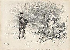 Judith Quiney - Judith unwisely allows a young man to have a preliminary look at her father's manuscript of The Tempest, a scene from William Black's Judith Shakespeare, illustrated by Edwin Austin Abbey