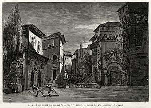 Le Cid (opera) - The death of Gormas, Act 2, Tableau 3 (set by Robecchi and Amable), from the coverage of the opera's première by L'Illustration