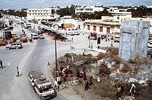 Il famigerato km 4: a destra, il cinema Equatore, a sinistra vi era il Sahafi hotel