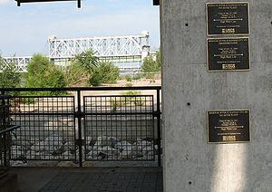 Great Flood of 1993 - High water marks at Westport Landing on the Missouri River in Kansas City. The flood heights from top to bottom are 1993, 1844 and 1951. ASB Bridge in background
