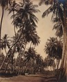 KITLV 92139 - Unknown - Coconut trees along a road at Coonoor in India - Around 1870.tif