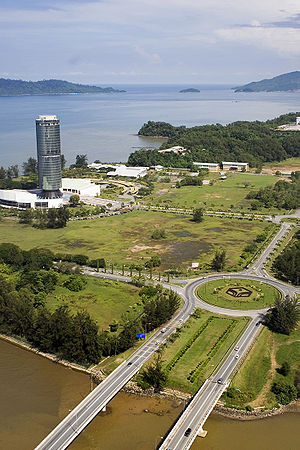 Sabah Foundation - Tun Mustapha Tower, Sabah Foundation headquarters in aerial view.