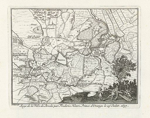 Kaart van het beleg van Breda door Frederik Hendrik, 1637 Siege de la Ville de Breda par Frederic Henri Prince d'Orange le 23e. Juilet 1637 (titel op object), BI-B-FM-060-9