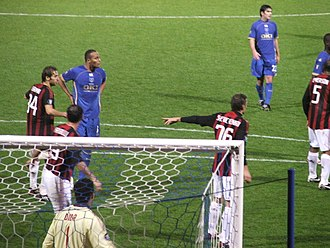 Younès Kaboul - Kaboul playing for Portsmouth against AC Milan