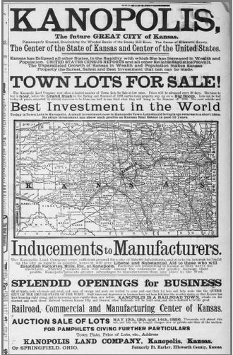 Kanopolis, Kansas -  A Kanopolis advertisement in The Lawrence Journal, May 1886