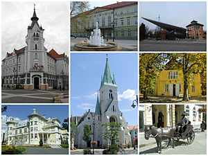 Kaposvár - From the left: City Hall of Kaposvár, County Hall of Somogy, University of Kaposvár, Csiky Gergely Theatre, Cathedral of Kaposvár, Rippl-Rónai Villa and the statue of József Rippl-Rónai