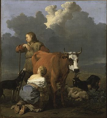 Woman hand milking a cow