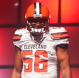 Karlos Dansby Cleveland Browns New Uniform Unveiling (16966664228).jpg