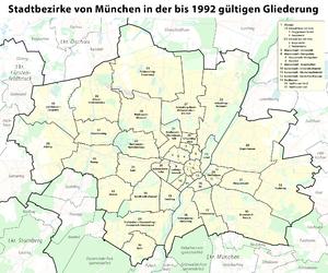 Boroughs of Munich - The boroughs of Munich until 1992