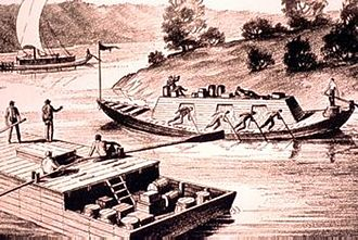 "Keelboat - Barges twice: A long cigar-shaped keelboat passing a ""flatboat"" on the Ohio River."