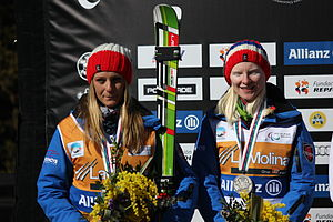 Kelly Gallagher (alpine skier) - Image: Kelly Gallagher and guide Charlotte Evans