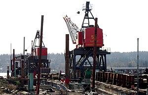 Kenmore, Washington - Cranes in Kenmore harbor