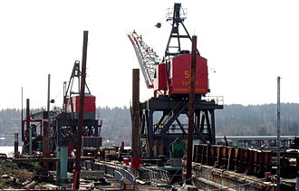 Kenmore, Washington - Cranes in Kenmore harbor
