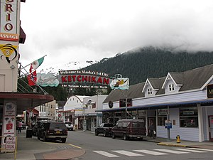 Ketchikan, Alaska - Ketchikan sign, which arches over Mission Street. Front Street is in the immediate foreground.