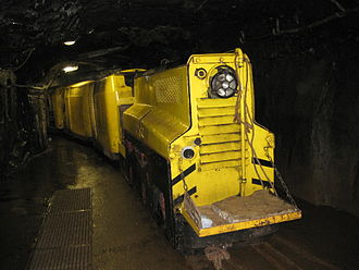 Mantrip used for transporting miners within an underground mine Kilianstollen Zug.jpg