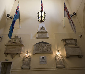 King's Chapel, Gibraltar - Military memorials and flags inside King's Chapel, Gibraltar