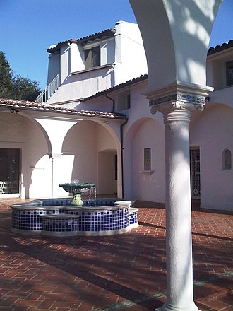 Calabasas, California - King Gillette Ranch, main residence courtyard, designed by Wallace Neff in the Spanish Colonial Revival architecture style in the 1920s