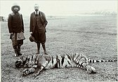 George V (right) and Nepalese prime minister Chandra Shumsher with a shot tiger