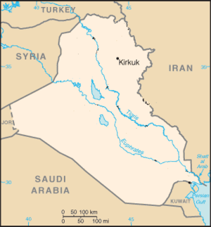 2009 Kirkuk bombing - Location of Kirkuk in Iraq