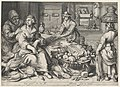 Kitchen Scene with a Maid Drawing Poultry, the Parable of the Rich Man and the Poor Lazarus, from Kitchen and Market Scenes with Biblical Scenes in the Background MET DP864813.jpg