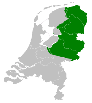 West Low German - Low Saxon language area in the Netherlands