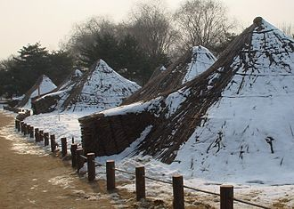 Korean architecture - Reconstructed Neolithic-period huts in Amsa-dong, Gangdong-gu, Seoul