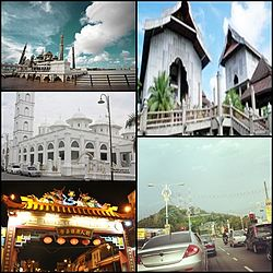 From top right clockwise: Terengganu State Museum, Tengku Mizan Road leading to the city, Chinatown, Abidin Mosque, and Crystal Mosque.
