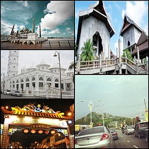 Kuala Terengganu - From top right clockwise: Terengganu State Museum, Tengku Mizan Road leading to the city, Chinatown, Abidin Mosque, and Crystal Mosque.