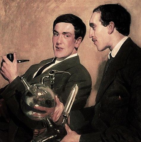 Капица (слева) и Семёнов (справа). Осенью 1921 года Капица появился в мастерской Бориса Кустодиева и спросил его, почему он рисует портреты знаменитостей, и почему бы художнику не нарисовать тех, кто станет известными. Молодые учёные расплатились с художником за портрет мешком пшена и петухом