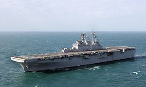 USS Makin Island (LHD-8) during her sea trials.