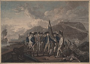 Capture of Grenada (1779) - Hand-colored 1779 engraving depicting d'Estaing's capture of the heights