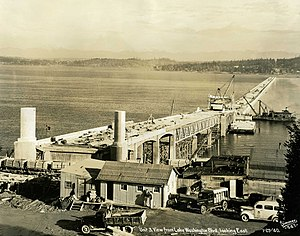 Lacey V. Murrow Memorial Bridge - Construction of the bridge; photo taken one year after start of construction.