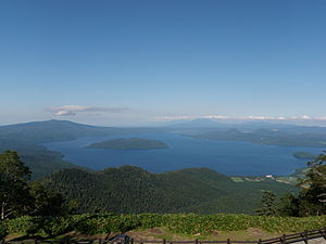 Lake Kussharo from Tsubetsu pass deck 2009.jpg