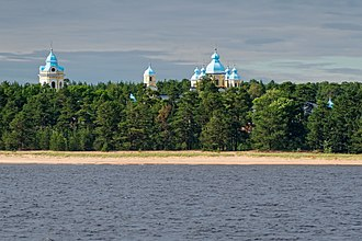 Konevsky Monastery - The domes as seen from the lake