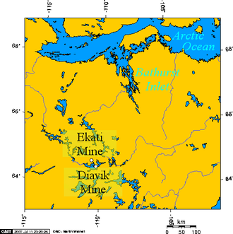 Bathurst Inlet - Lambert Projection showing Bathurst Inlet, Nunavut, and environs.