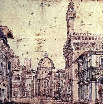 Baldassarre Lanci - Drawing by Lanzi of a perspective view of Florence (Palazzo Vecchio and Brunelleschi's dome of Santa Maria del Fiore) The precise perspective was obtained using the surveying equipment he invented himself. The image itself suggests Lanci's secondary career as a set designer.
