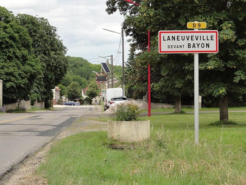 Laneuveville-devant-Bayon (M-et-M) city limit sign