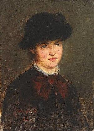 Arthur Langhammer - Arthur Langhammer, Portrait of a Young Woman 1882.