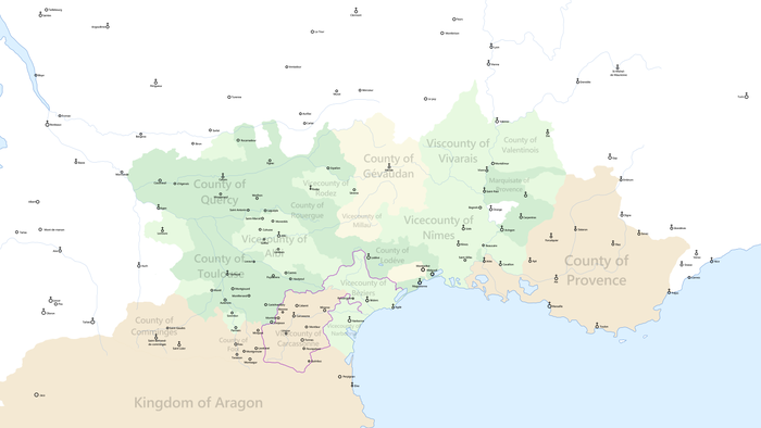 Political map of the Languedoc under rule of the House of Toulouse on the eve of the Albigensian Crusade Languedoc Map 1209.png