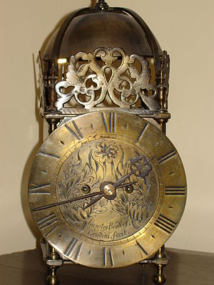 Lantern clock - Lantern clock by Langley Bradley, London, c. 1700. Converted to clockwork mechanism, hence missing its weights.