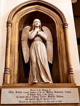 Church of St Mary & St Nicholas, Leatherhead - Image: Leatherhead, St Mary & St Nicholas, Angel monument in chancel