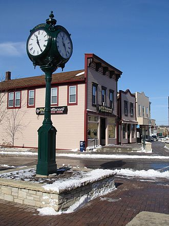 Lemont, Illinois - The clock in the center of downtown Lemont