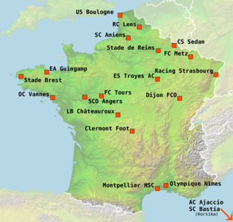 2008–09 Ligue 2 - The locations of the 20 teams participating in Ligue 2 season 2008–09