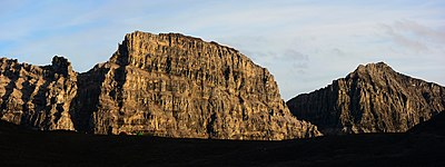 Limestack Mountain, a tall limestone fin with sheer cliffs in the central Brooks Range
