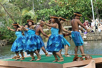 Line dance - Line dancing at the Polynesian Cultural Center in Hawaii